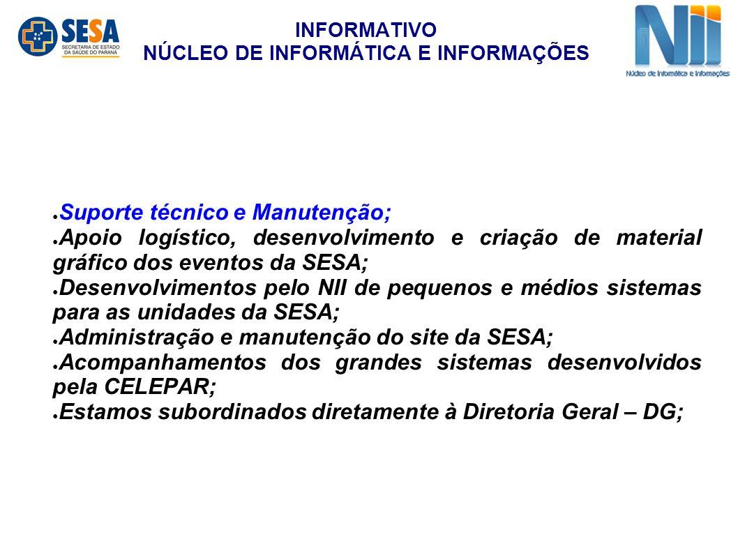 ● Suporte técnico e Manutenção; ● Apoio logístico, desenvolvimento e criação de material gráfico dos eventos da SESA; ● Desenvolvimentos pelo NII de p
