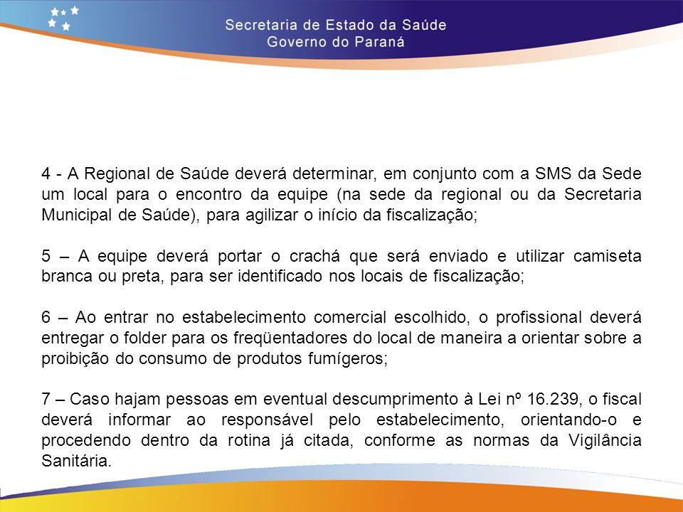 4 - A Regional de Saúde deverá determinar, em conjunto com a SMS da Sede um local para o encontro da equipe (na sede da regional ou da Secretaria Muni