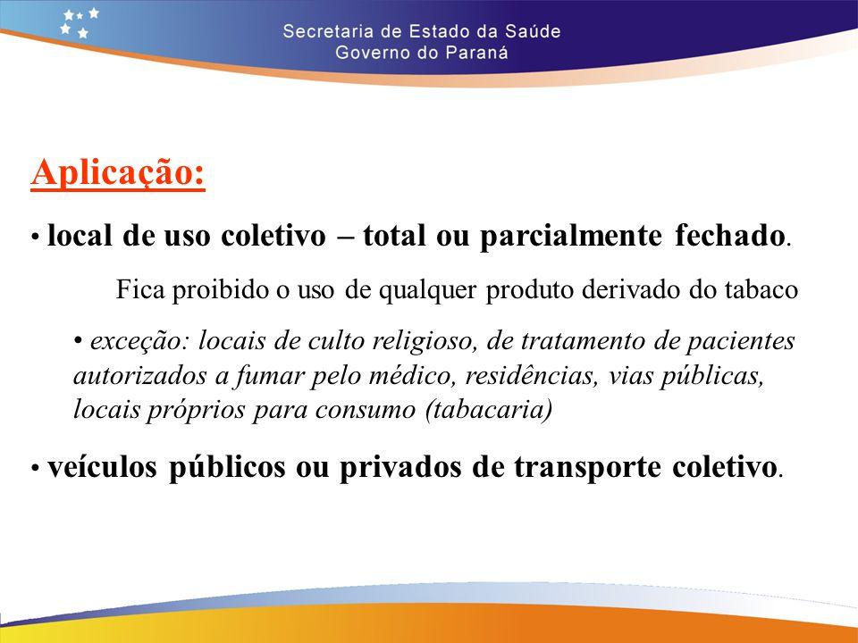 Aplicação: local de uso coletivo – total ou parcialmente fechado. Fica proibido o uso de qualquer produto derivado do tabaco exceção: locais de culto