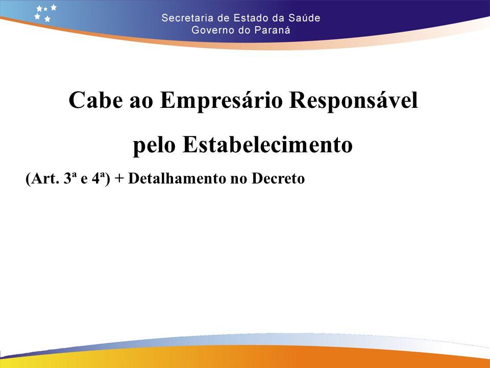 Cabe ao Empresário Responsável pelo Estabelecimento (Art. 3ª e 4ª) + Detalhamento no Decreto