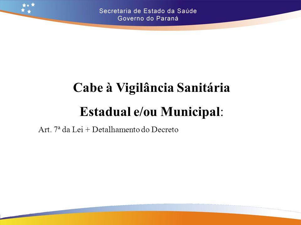 Cabe à Vigilância Sanitária Estadual e/ou Municipal: Art. 7ª da Lei + Detalhamento do Decreto