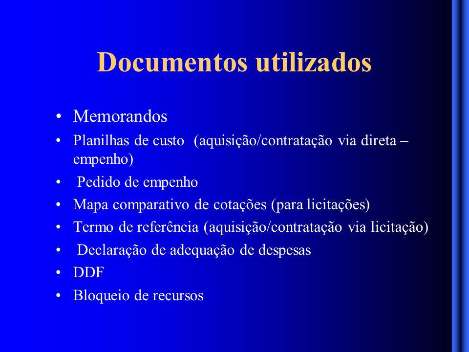 Documentos utilizados Memorandos Planilhas de custo (aquisição/contratação via direta – empenho) Pedido de empenho Mapa comparativo de cotações (para licitações) Termo de referência (aquisição/contratação via licitação) Declaração de adequação de despesas DDF Bloqueio de recursos