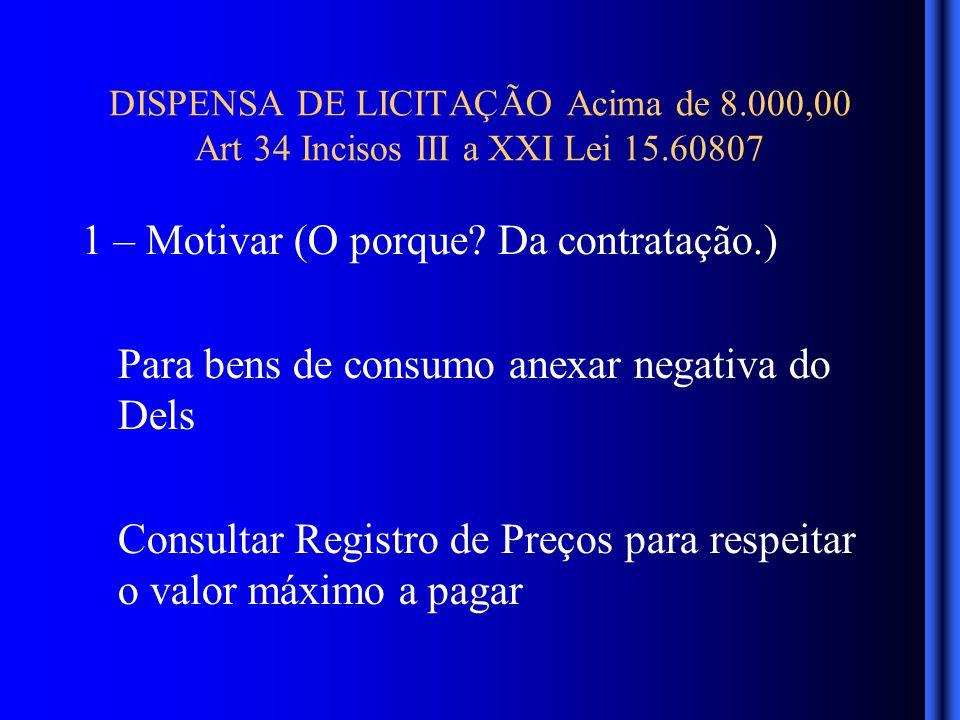DISPENSA DE LICITAÇÃO Acima de 8.000,00 Art 34 Incisos III a XXI Lei 15.60807 1 – Motivar (O porque.