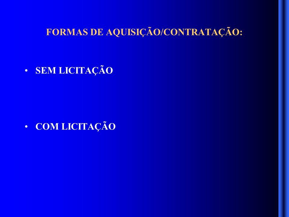 SEM LICITAÇÃO DISPENSA DE LICITAÇÃO PEQUENO VALOR (R$ 8.000,00) COTAÇÃO DE PREÇOS – AUTORIZAÇÃO – CHEFIAS E SIE DISPENSA DE LICITAÇÃO ACIMA DE 8.000,00 COTAÇÃO DE PREÇOS – AUTORIZAÇÃO - SECRETÀRIO – CONVALIDAÇÃO DO GOVERNADOR INEXIGIBILIDADE – QUALQUER VALOR- AUTORIZAÇÃO - SECRETARIO – CONVALIDAÇÃO DO GOVERNADOR