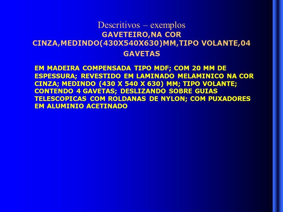 Descritivos – exemplos GAVETEIRO,NA COR CINZA,MEDINDO(430X540X630)MM,TIPO VOLANTE,04 GAVETAS EM MADEIRA COMPENSADA TIPO MDF; COM 20 MM DE ESPESSURA; REVESTIDO EM LAMINADO MELAMINICO NA COR CINZA; MEDINDO (430 X 540 X 630) MM; TIPO VOLANTE; CONTENDO 4 GAVETAS; DESLIZANDO SOBRE GUIAS TELESCOPICAS COM ROLDANAS DE NYLON; COM PUXADORES EM ALUMINIO ACETINADO
