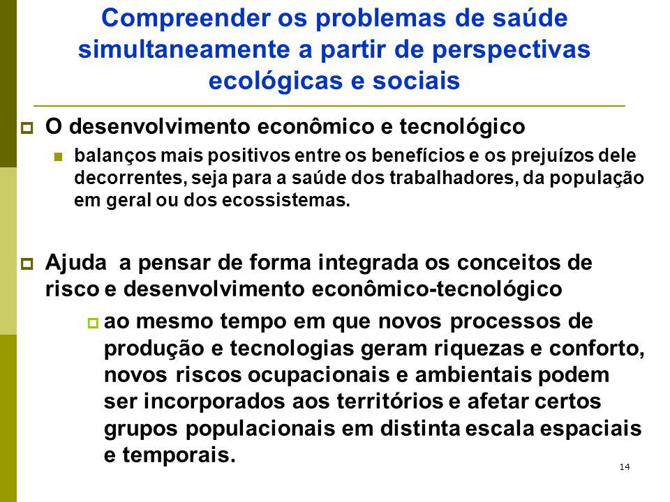 14 Compreender os problemas de saúde simultaneamente a partir de perspectivas ecológicas e sociais  O desenvolvimento econômico e tecnológico balanço