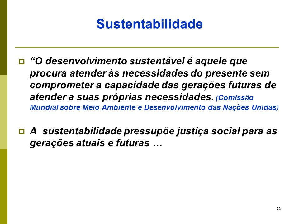 """16 Sustentabilidade  """"O desenvolvimento sustentável é aquele que procura atender às necessidades do presente sem comprometer a capacidade das geraçõe"""