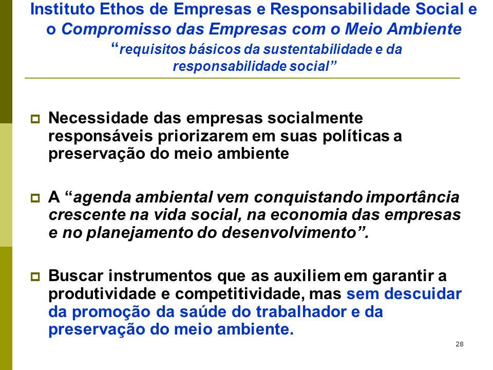 """28 Instituto Ethos de Empresas e Responsabilidade Social e o Compromisso das Empresas com o Meio Ambiente """" requisitos básicos da sustentabilidade e d"""