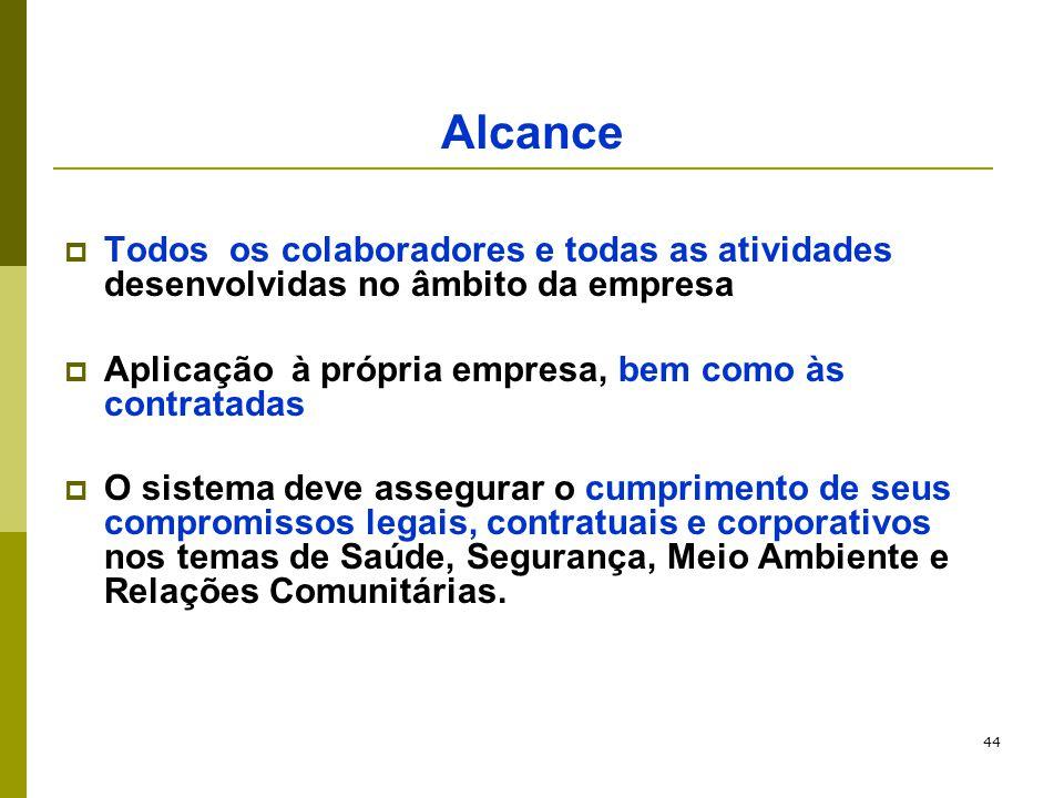 44 Alcance  Todos os colaboradores e todas as atividades desenvolvidas no âmbito da empresa  Aplicação à própria empresa, bem como às contratadas 
