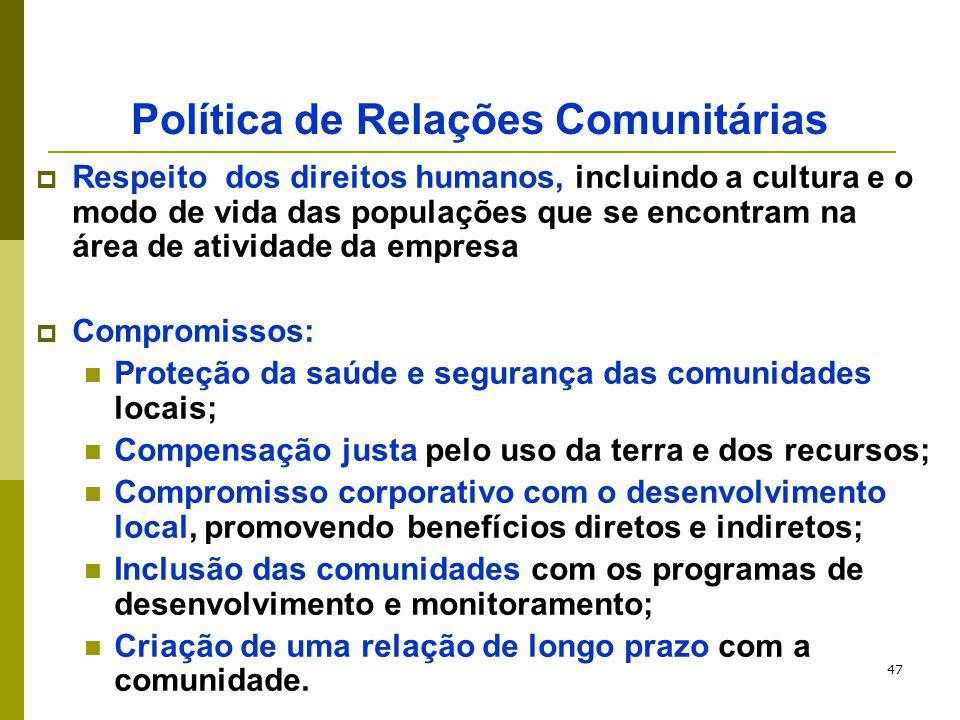 47 Política de Relações Comunitárias  Respeito dos direitos humanos, incluindo a cultura e o modo de vida das populações que se encontram na área de