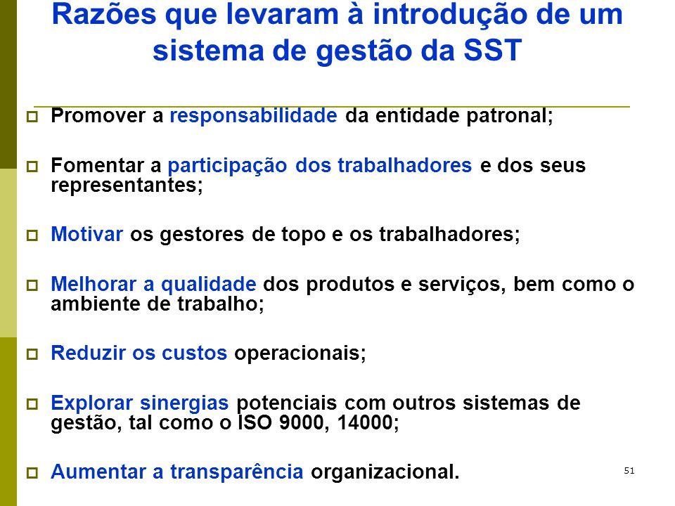 51 Razões que levaram à introdução de um sistema de gestão da SST  Promover a responsabilidade da entidade patronal;  Fomentar a participação dos tr