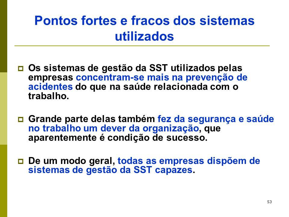 53 Pontos fortes e fracos dos sistemas utilizados  Os sistemas de gestão da SST utilizados pelas empresas concentram-se mais na prevenção de acidente