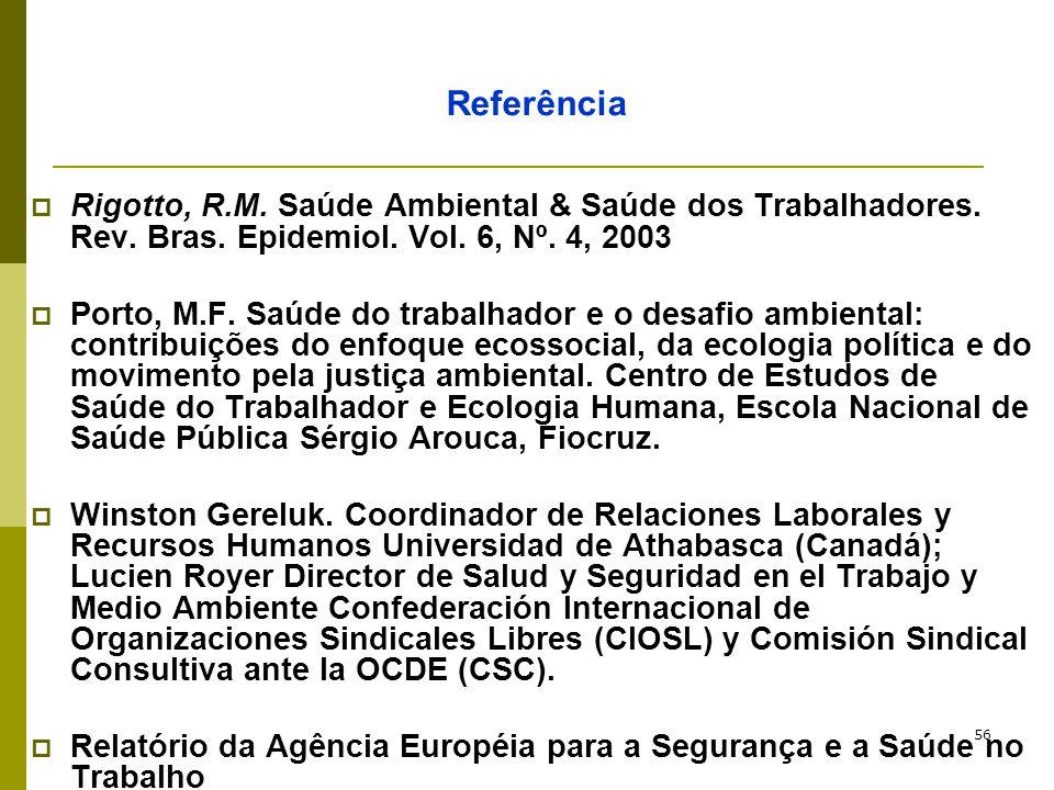 56 Referência  Rigotto, R.M. Saúde Ambiental & Saúde dos Trabalhadores. Rev. Bras. Epidemiol. Vol. 6, Nº. 4, 2003  Porto, M.F. Saúde do trabalhador