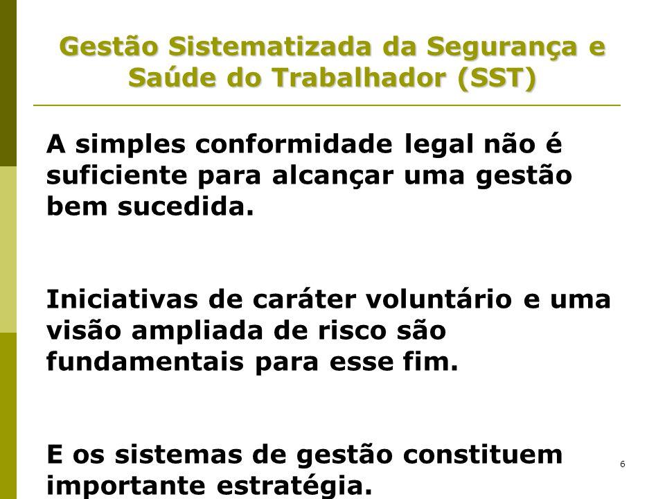 6 Gestão Sistematizada da Segurança e Saúde do Trabalhador (SST) A simples conformidade legal não é suficiente para alcançar uma gestão bem sucedida.