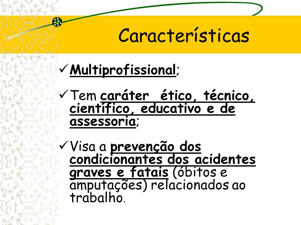 Multiprofissional; Tem caráter ético, técnico, científico, educativo e de assessoria; Visa a prevenção dos condicionantes dos acidentes graves e fatai