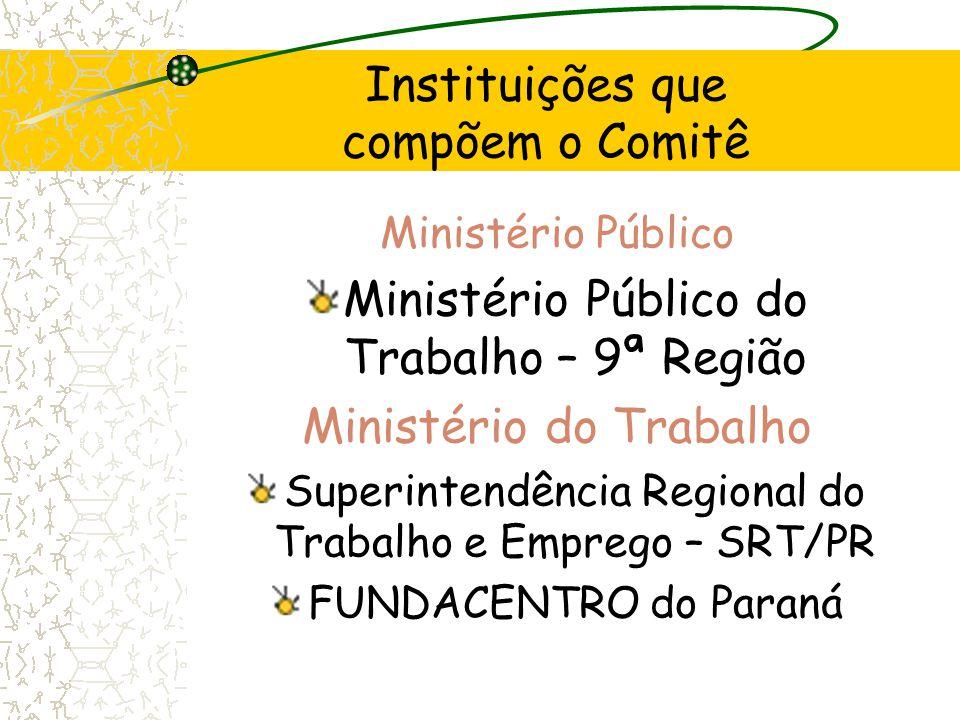 Ministério Público Ministério Público do Trabalho – 9ª Região Ministério do Trabalho Superintendência Regional do Trabalho e Emprego – SRT/PR FUNDACEN
