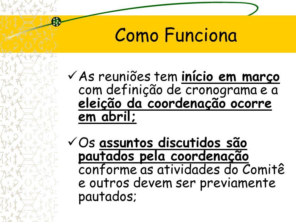As reuniões tem início em março com definição de cronograma e a eleição da coordenação ocorre em abril; Os assuntos discutidos são pautados pela coord