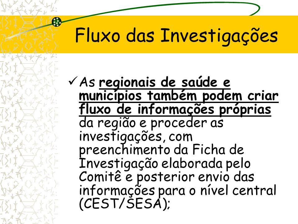 As regionais de saúde e municípios também podem criar fluxo de informações próprias da região e proceder as investigações, com preenchimento da Ficha