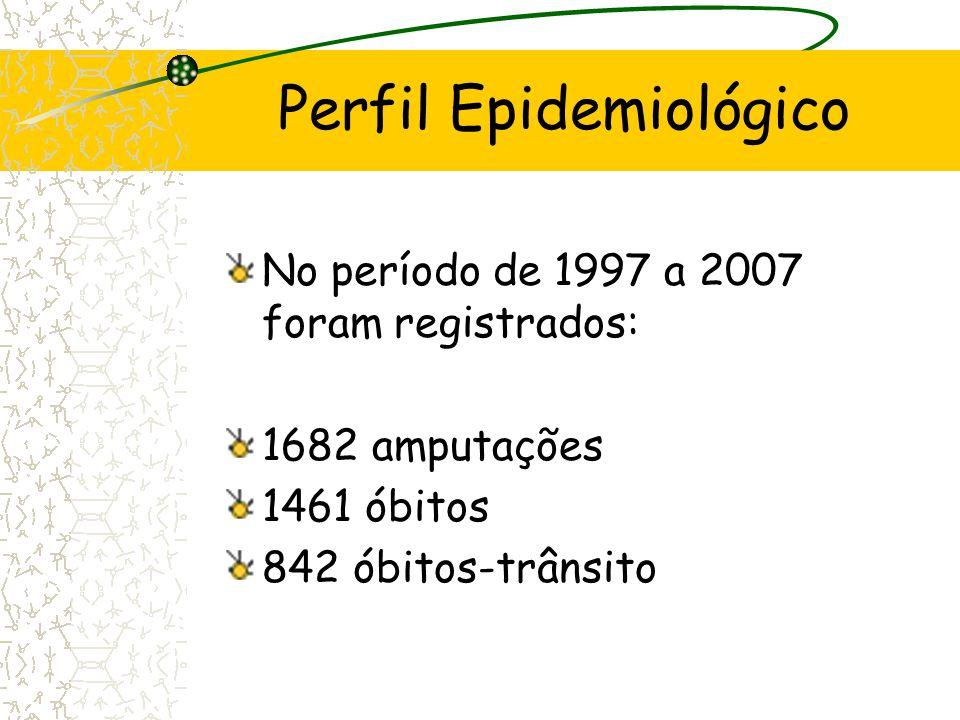 Perfil Epidemiológico No período de 1997 a 2007 foram registrados: 1682 amputações 1461 óbitos 842 óbitos-trânsito