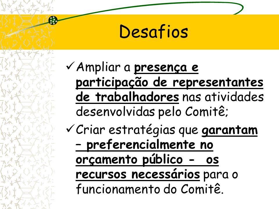 Ampliar a presença e participação de representantes de trabalhadores nas atividades desenvolvidas pelo Comitê; Criar estratégias que garantam – prefer