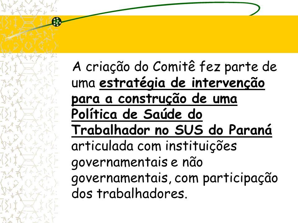 A criação do Comitê fez parte de uma estratégia de intervenção para a construção de uma Política de Saúde do Trabalhador no SUS do Paraná articulada c