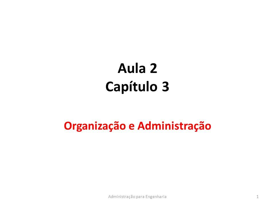 Aula 2 Capítulo 3 Organização e Administração 1Administração para Engenharia
