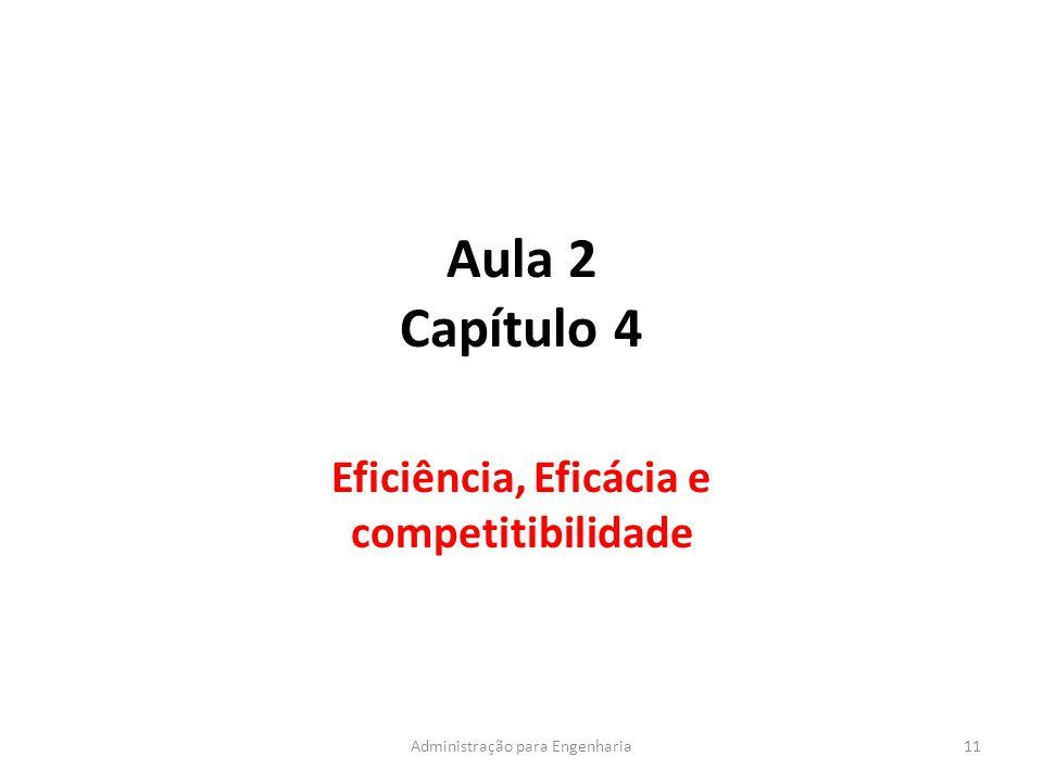 Aula 2 Capítulo 4 Eficiência, Eficácia e competitibilidade 11Administração para Engenharia