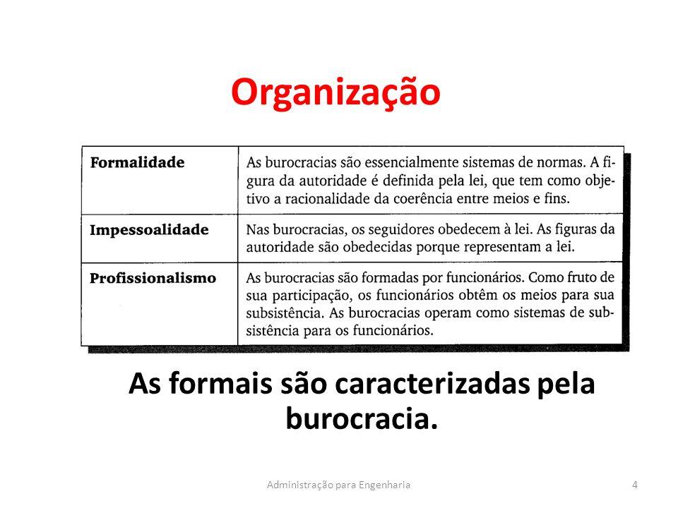 Organização 4Administração para Engenharia As formais são caracterizadas pela burocracia.