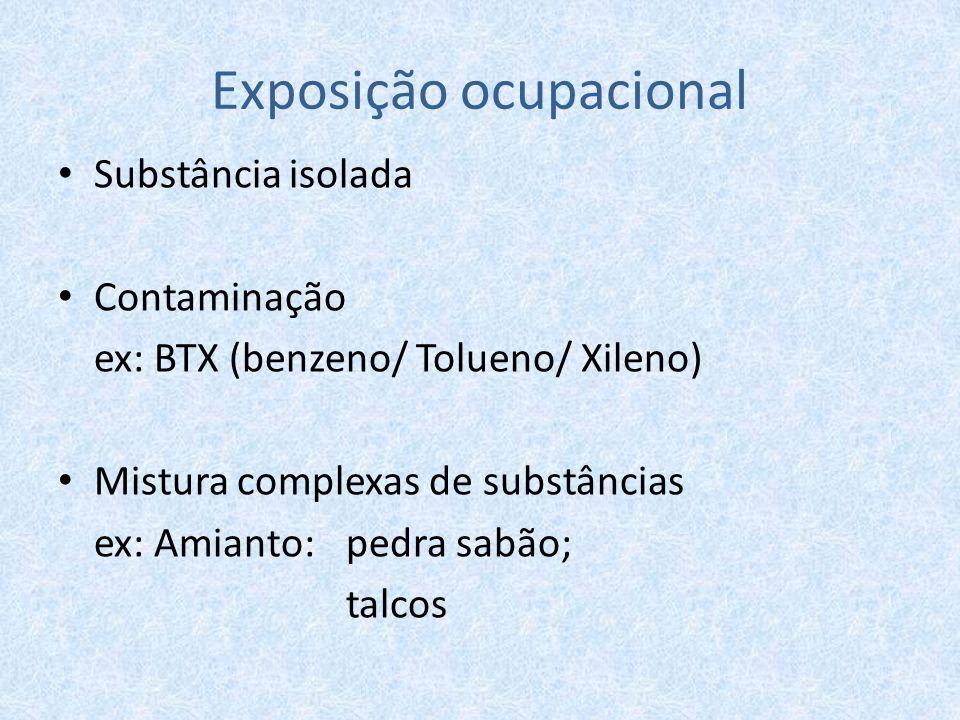 Exposição ocupacional Substância isolada Contaminação ex: BTX (benzeno/ Tolueno/ Xileno) Mistura complexas de substâncias ex: Amianto: pedra sabão; ta
