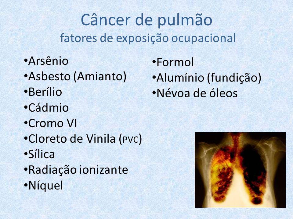 Câncer de pulmão fatores de exposição ocupacional Arsênio Asbesto (Amianto) Berílio Cádmio Cromo VI Cloreto de Vinila ( PVC ) Sílica Radiação ionizant