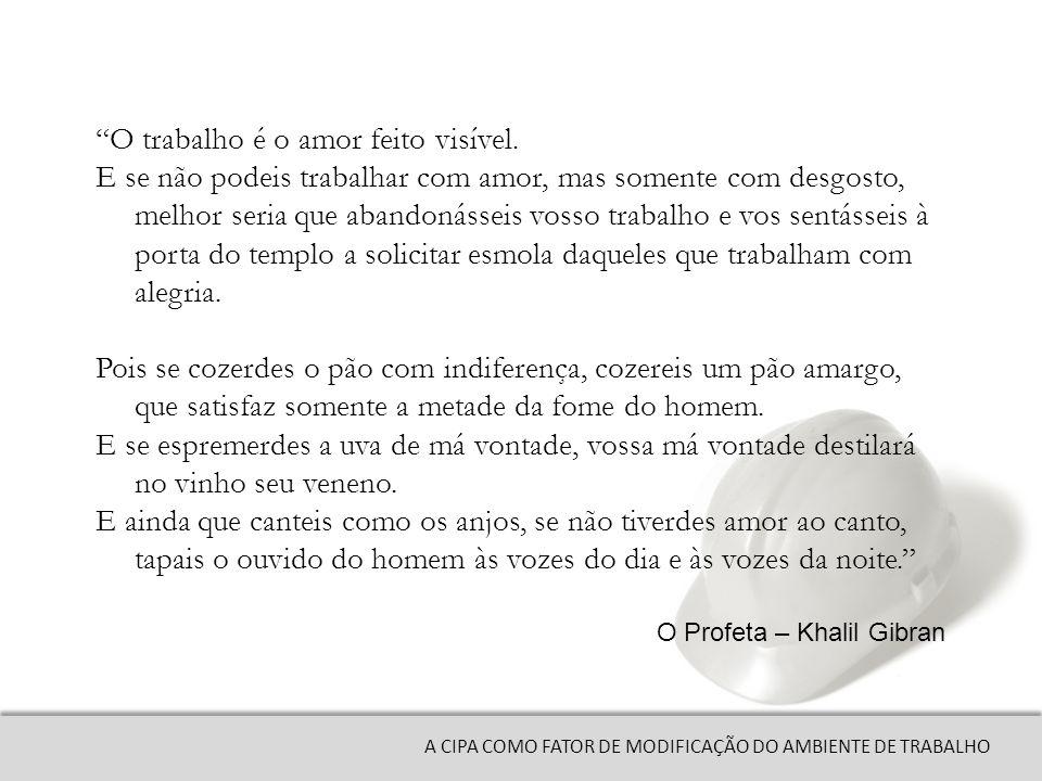 A CIPA COMO FATOR DE MODIFICAÇÃO DO AMBIENTE DE TRABALHO O trabalho é o amor feito visível.