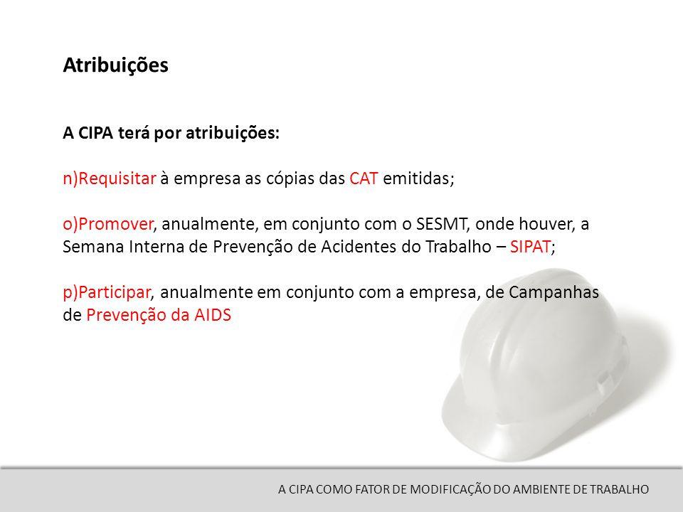 A CIPA COMO FATOR DE MODIFICAÇÃO DO AMBIENTE DE TRABALHO n)Requisitar à empresa as cópias das CAT emitidas; o)Promover, anualmente, em conjunto com o SESMT, onde houver, a Semana Interna de Prevenção de Acidentes do Trabalho – SIPAT; p)Participar, anualmente em conjunto com a empresa, de Campanhas de Prevenção da AIDS Atribuições A CIPA terá por atribuições: