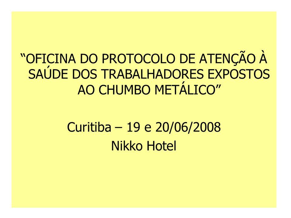 """""""OFICINA DO PROTOCOLO DE ATENÇÃO À SAÚDE DOS TRABALHADORES EXPOSTOS AO CHUMBO METÁLICO"""" Curitiba – 19 e 20/06/2008 Nikko Hotel"""