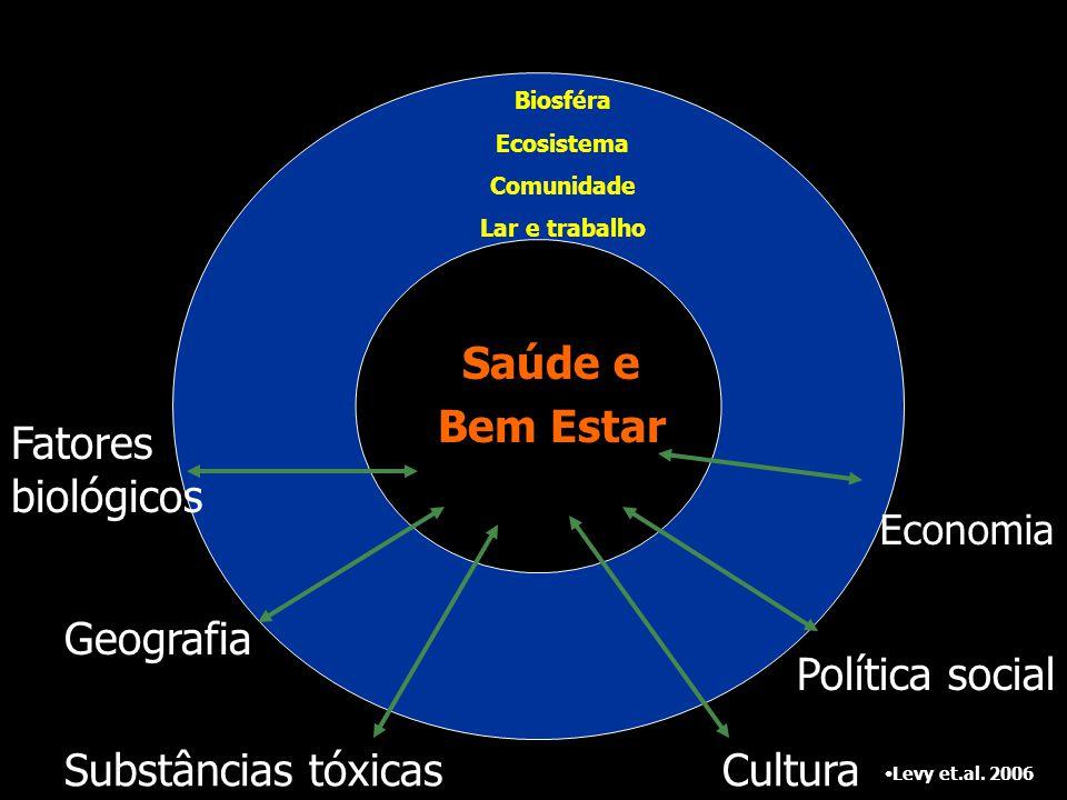 Saúde e Bem Estar Levy et.al. 2006 Economia Cultura Política social Fatores biológicos Geografia Substâncias tóxicas Biosféra Ecosistema Comunidade La