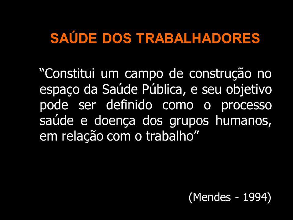 SAÚDE DOS TRABALHADORES Constitui um campo de construção no espaço da Saúde Pública, e seu objetivo pode ser definido como o processo saúde e doença dos grupos humanos, em relação com o trabalho (Mendes - 1994)
