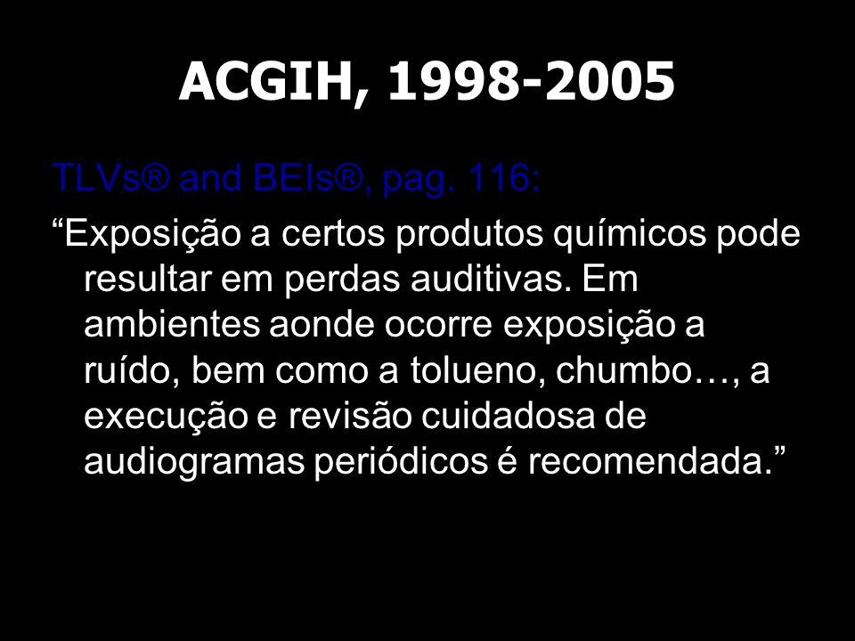 """ACGIH, 1998-2005 TLVs® and BEIs®, pag. 116: """"Exposição a certos produtos químicos pode resultar em perdas auditivas. Em ambientes aonde ocorre exposiç"""