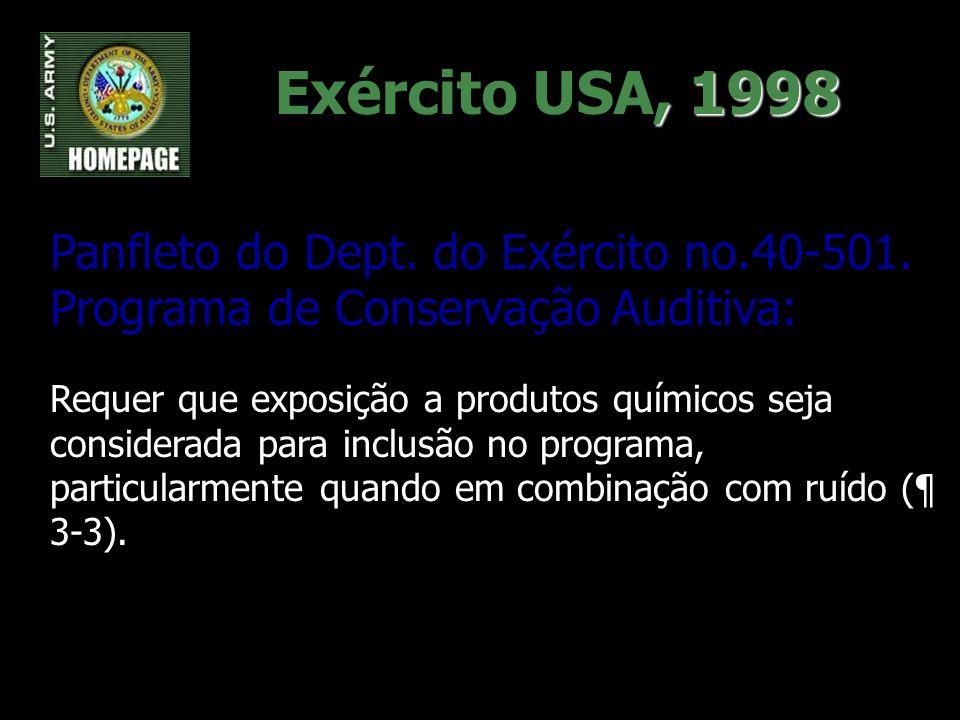 , 1998 Exército USA, 1998 Panfleto do Dept. do Exército no.40-501. Programa de Conservação Auditiva: Requer que exposição a produtos químicos seja con