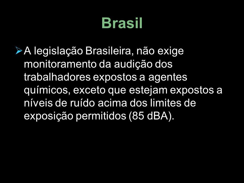 Brasil  A legislação Brasileira, não exige monitoramento da audição dos trabalhadores expostos a agentes químicos, exceto que estejam expostos a níveis de ruído acima dos limites de exposição permitidos (85 dBA).