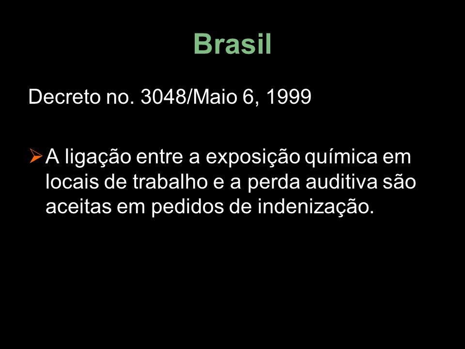 Brasil Decreto no. 3048/Maio 6, 1999  A ligação entre a exposição química em locais de trabalho e a perda auditiva são aceitas em pedidos de indeniza