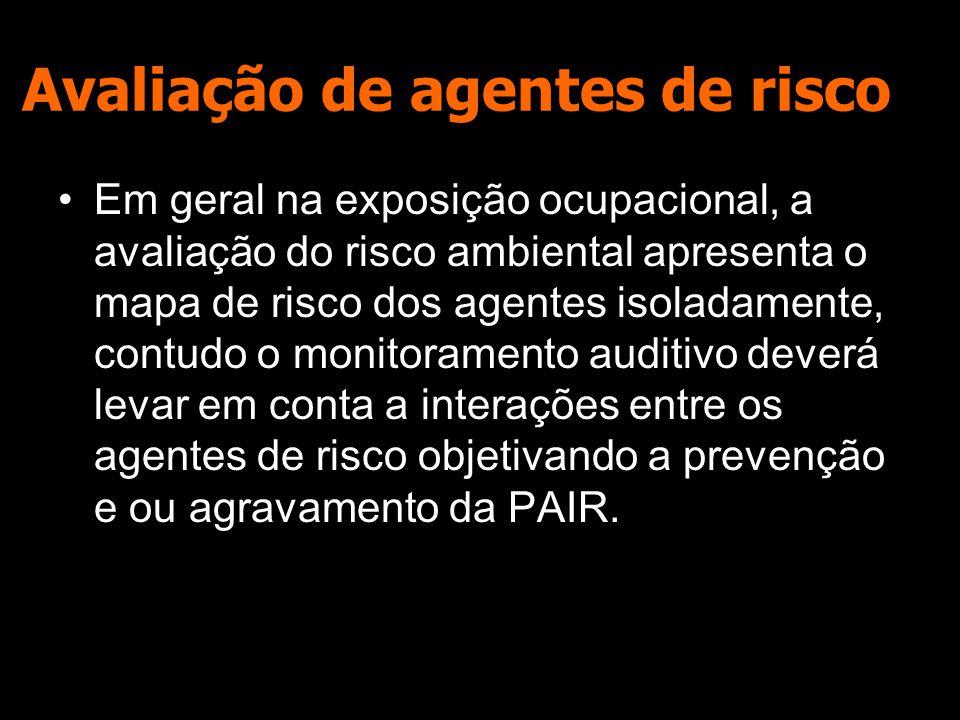 Avaliação de agentes de risco Em geral na exposição ocupacional, a avaliação do risco ambiental apresenta o mapa de risco dos agentes isoladamente, contudo o monitoramento auditivo deverá levar em conta a interações entre os agentes de risco objetivando a prevenção e ou agravamento da PAIR.