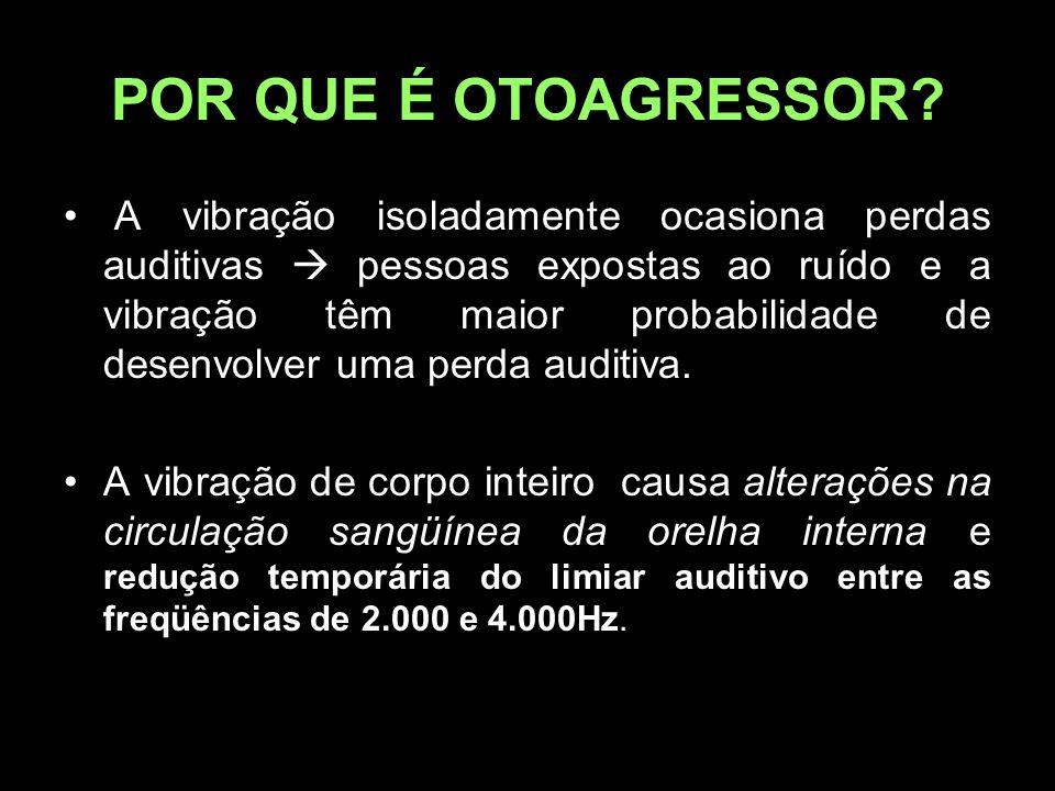 POR QUE É OTOAGRESSOR? A vibração isoladamente ocasiona perdas auditivas  pessoas expostas ao ruído e a vibração têm maior probabilidade de desenvolv