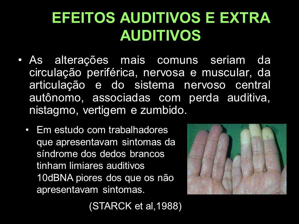EFEITOS AUDITIVOS E EXTRA AUDITIVOS As alterações mais comuns seriam da circulação periférica, nervosa e muscular, da articulação e do sistema nervoso central autônomo, associadas com perda auditiva, nistagmo, vertigem e zumbido.