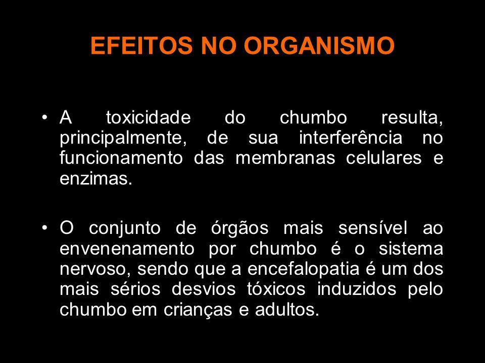 EFEITOS NO ORGANISMO A toxicidade do chumbo resulta, principalmente, de sua interferência no funcionamento das membranas celulares e enzimas. O conjun