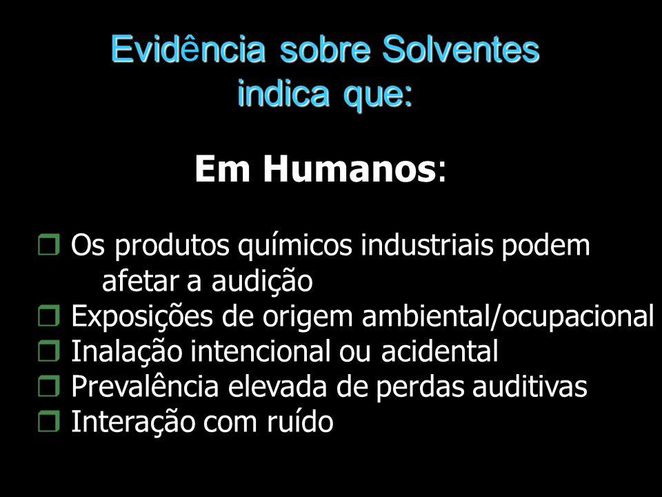 Evidncia sobre Solventes Evidência sobre Solventes indica que: Em Humanos: r Os produtos químicos industriais podem afetar a audição r Exposições de o