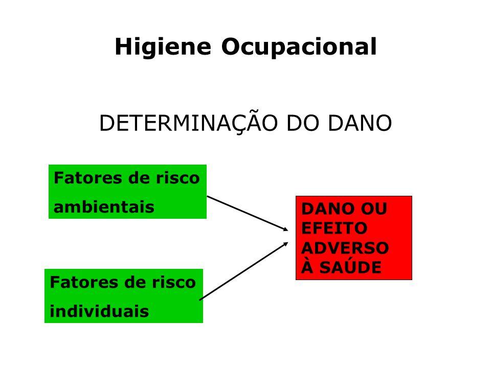 Higiene Ocupacional DETERMINAÇÃO DO DANO DANO OU EFEITO ADVERSO À SAÚDE Fatores de risco ambientais Fatores de risco individuais