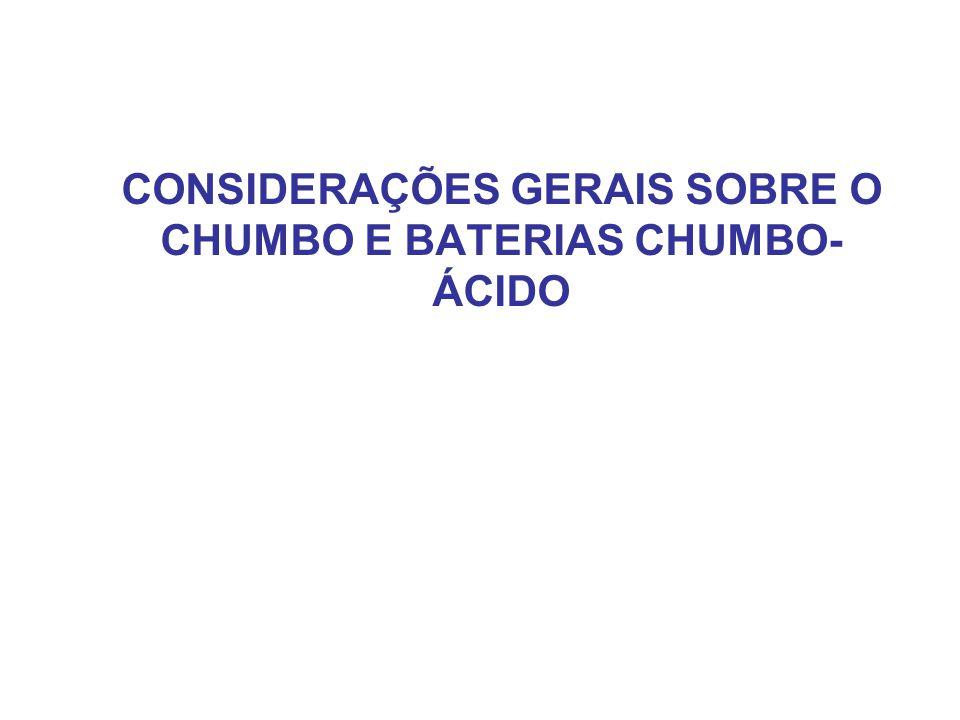 CONSIDERAÇÕES GERAIS SOBRE O CHUMBO E BATERIAS CHUMBO- ÁCIDO