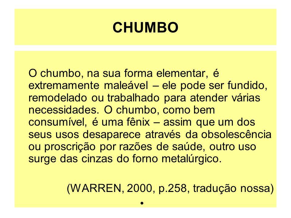 CHUMBO O chumbo, na sua forma elementar, é extremamente maleável – ele pode ser fundido, remodelado ou trabalhado para atender várias necessidades. O