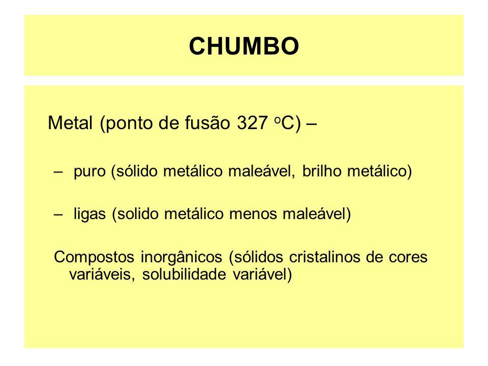CHUMBO Metal (ponto de fusão 327 o C) – – puro (sólido metálico maleável, brilho metálico) – ligas (solido metálico menos maleável) Compostos inorgâni