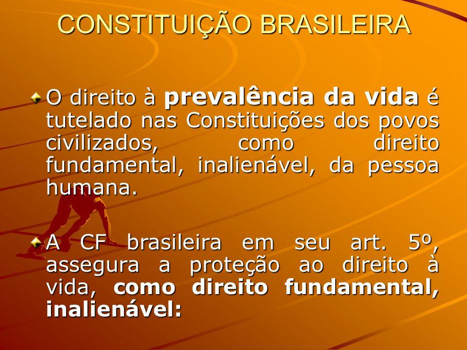 CONSTITUIÇÃO BRASILEIRA O direito à prevalência da vida é tutelado nas Constituições dos povos civilizados, como direito fundamental, inalienável, da