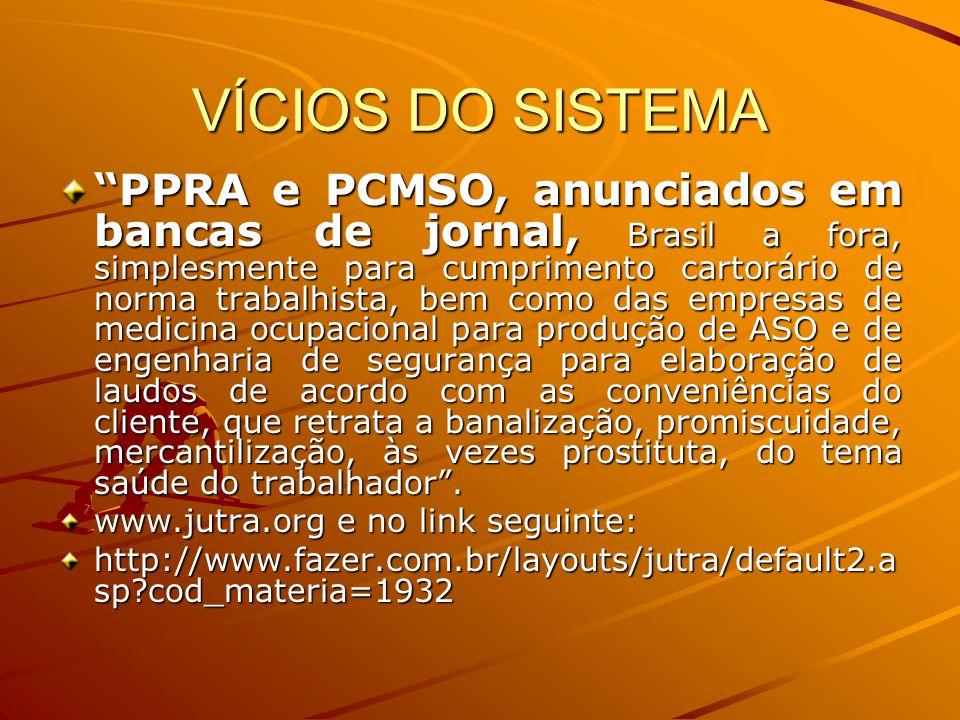 """VÍCIOS DO SISTEMA """"PPRA e PCMSO, anunciados em bancas de jornal, Brasil a fora, simplesmente para cumprimento cartorário de norma trabalhista, bem com"""